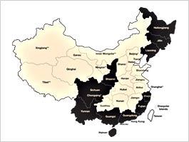 Gallfarmfria provinser i Kina
