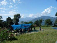 Överblicksbild av öppen djurmottagning i Kalimpong, Indien