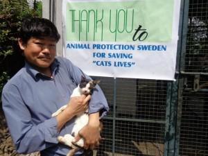 Man med katt framför en skylt som tackar Animal Protection Network för dess hjälp med att rädda Indiens katter